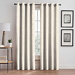 Scroll Jacquard 63-Inch Grommet Room Darkening Window Curtain Panel in Pearl