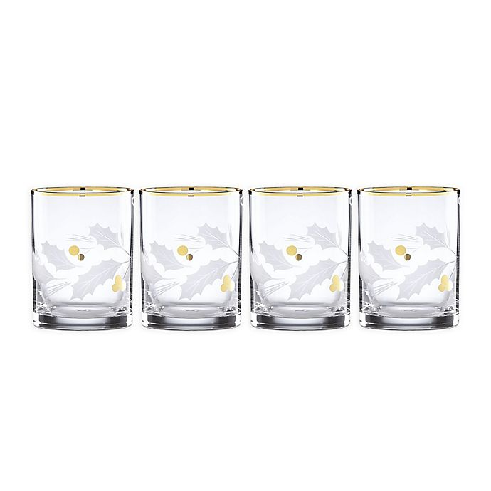 Alternate image 1 for Lenox® Holiday Double Old Fashioned Glasses in Gold (Set Of 4)