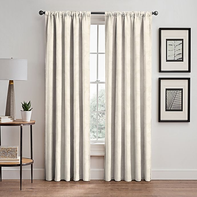 Alternate image 1 for Scroll 108-Inch Rod Pocket/Back Tab Window Curtain Panel in Pearl