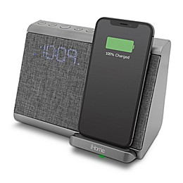 iHome™ Bluetooth Dual Alarm Clock in Gunmetal with Qi Wireless Charging