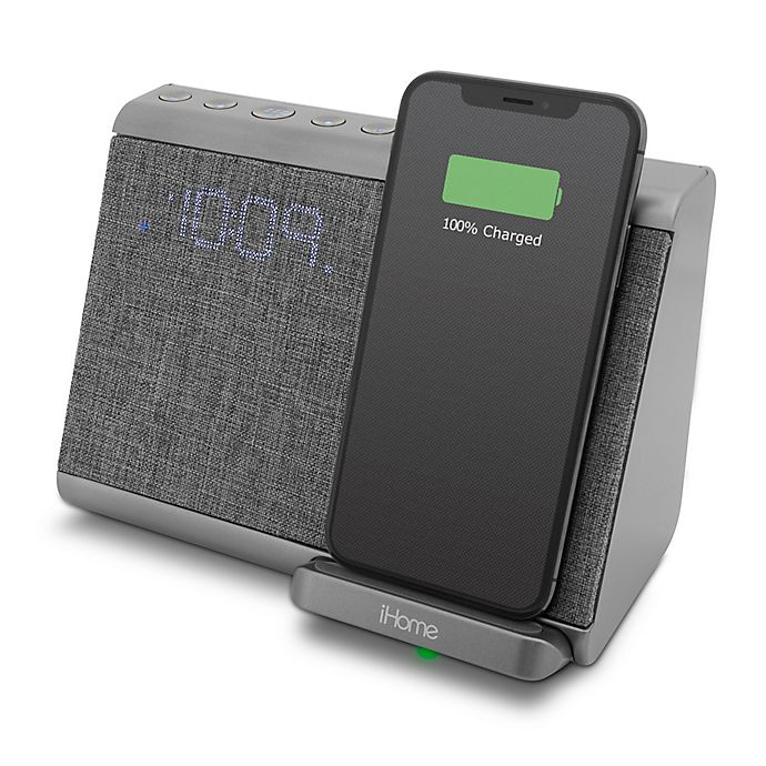 Alternate image 1 for iHome™ Bluetooth Dual Alarm Clock in Gunmetal with Qi Wireless Charging
