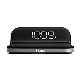 iHome™ Compact Alarm Clock in Black with USB Port and Qi Wireless Charging