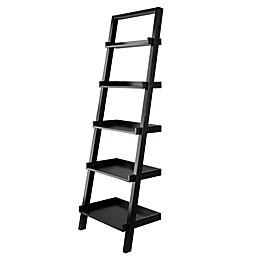Winsome Trading Bellamy 5-Tier Leaning Shelf in Black