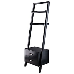 Winsome Trading Bellamy Leaning Shelf with 2 Drawers in Black