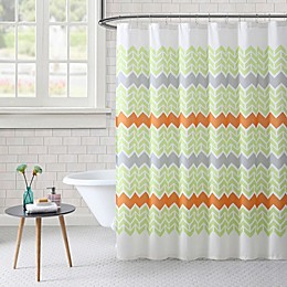 Freshee Chevron Shower Curtain in Green