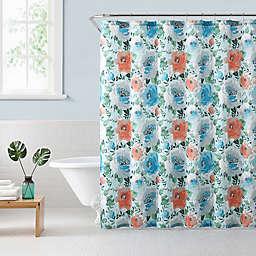 Freshee Floral Shower Curtain in Teal/Orange