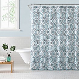 Freshee Dot Geometric Shower Curtain in Blue