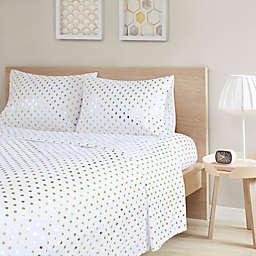 Intelligent Design Metallic Dot Printed Full Sheet Set in White/Gold