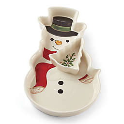 Lenox® Holiday™ Snowman Chip & Dip Dish in Green/Red