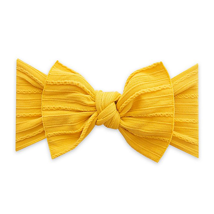 Alternate image 1 for Baby Bling Cable Knit Knot Headband in Mustard