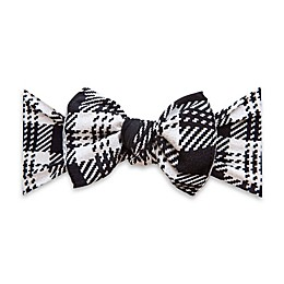Baby Bling Knitted Plaid Knot Headband in Black/White