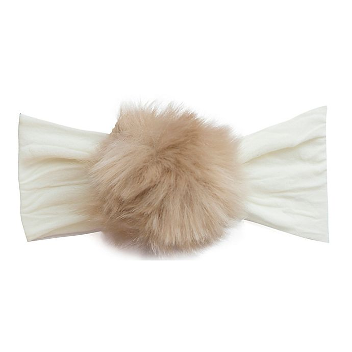 Alternate image 1 for Baby Bling Faux Rabbit Fur Headband in Ivory/Camel