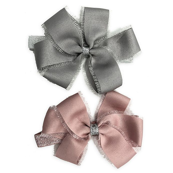 Alternate image 1 for Curls & Pearls 2-Pack Bow Headbands in Mauve/Grey