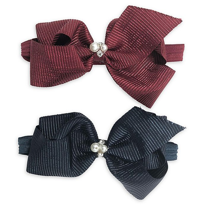 Alternate image 1 for Curls & Pearls 2-Pack Large Bow Headbands in Burgundy/Navy
