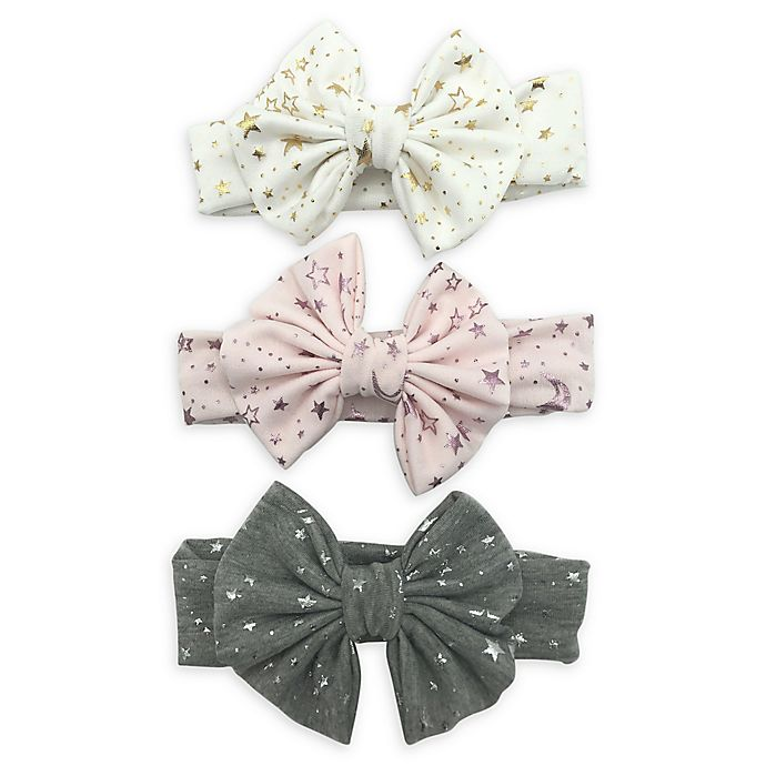 Alternate image 1 for Curls & Pearls 3-Pack Metallic Bow Headbands