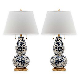Safavieh Color Swirls Glass Table Lamp with Cotton Shade (Set of 2)