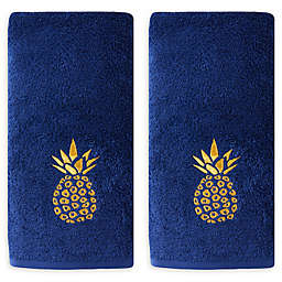 Saturday Knight Gilded Pineapple Hand Towels in Blue (Set of 2)