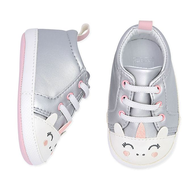 Alternate image 1 for carter's® Unicorn Lace-Up Sneaker in Silver
