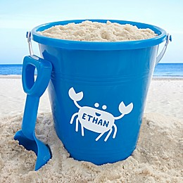Personalized Sea Creatures Plastic Beach Pail & Shovel- Blue