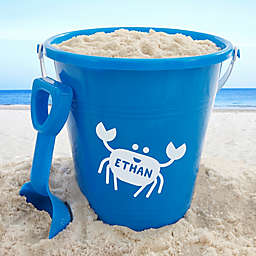 Personalized Sea Creatures Plastic Beach Pail & Shovel- Blue