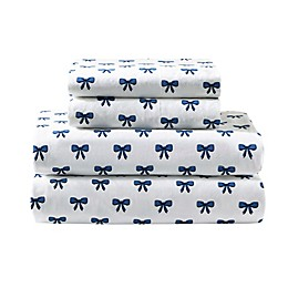 Felicity 144-Thread-Count Percale Cotton Sheet Set in Blue