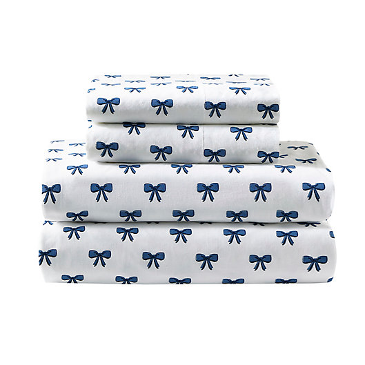 Alternate image 1 for Felicity 144-Thread-Count Percale Cotton Sheet Set in Blue