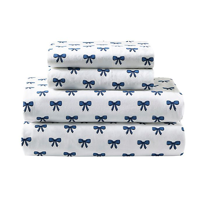 Alternate image 1 for Felicity 144-Thread-Count Percale Cotton Twin Sheet Set in Blue