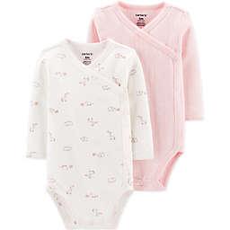 carter's® Preemie 2-Pack Pointelle and Giraffe Long Sleeve Bodysuits