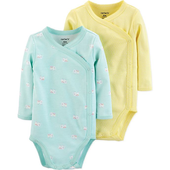 Alternate image 1 for carter's® Preemie 2-Pack Elephant Kimono Bodysuits