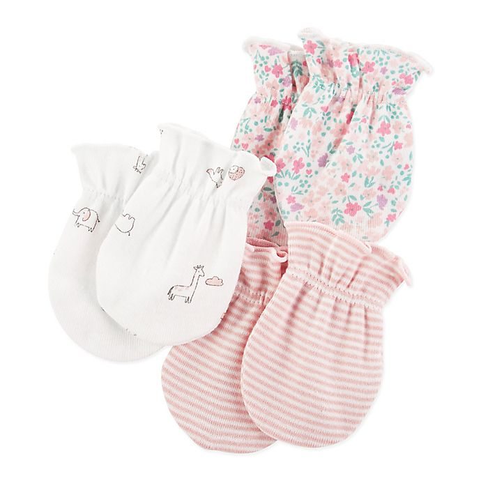 Alternate image 1 for carter's® 3-Pack Floral Scratch Mitts in Pink