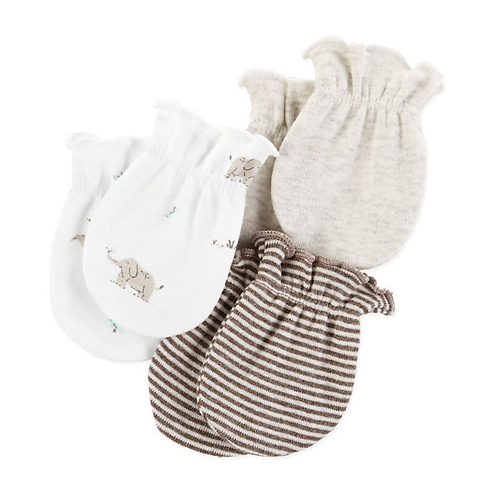 Alternate image 1 for carter's® 3-Pack Scratch Mitts in Tan