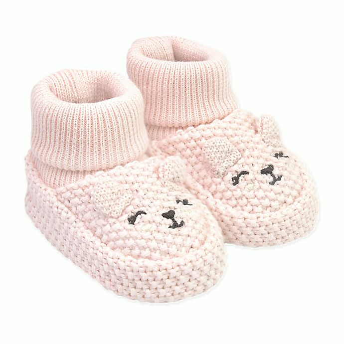 Alternate image 1 for carter's® Newborn Knit Bear Bootie in Pink