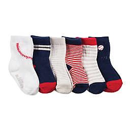 Robeez® 6-Pack Batter Up Socks in Navy/Red