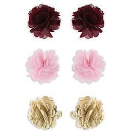 Capelli New York 6-Pack Chiffon Flower Hair Clips in Burgundy