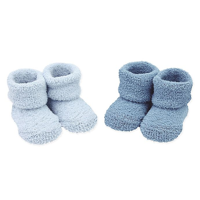 Alternate image 1 for carter's® Newborn 2-Pack Chenille Keepsake Booties in Blue
