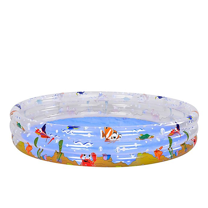 Alternate image 1 for 59-Inch Inflatable Transparent Sea Life 3-Ring Children's Swimming Pool
