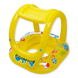 29-Inch Inflatable Sea Life Baby Swimming Pool Boat Float with Sunshade in Yellow