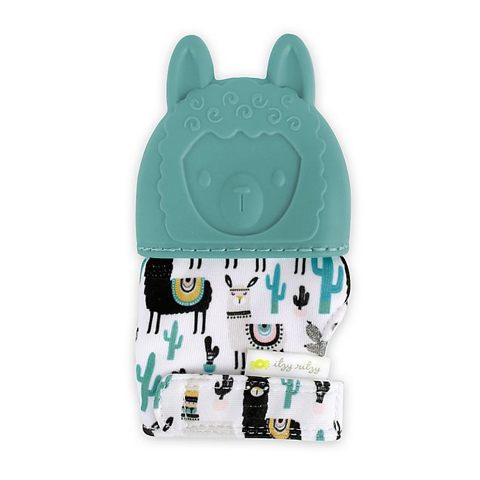 Alternate image 1 for Itzy Ritzy® Llama Silicone Teething Mitt in Blue