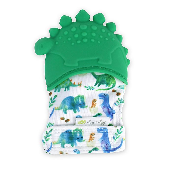 Alternate image 1 for Itzy Ritzy® Dinosaur Silicone Teething Mitt in Green