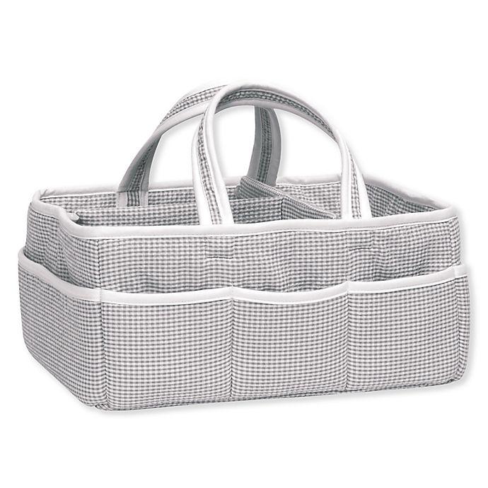 Alternate image 1 for Trend Lab® Gingham Seersucker Storage Caddy in Grey/White