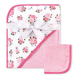 Luvable Friends® 2-Piece Floral Hooded Towel and Washcloth Set