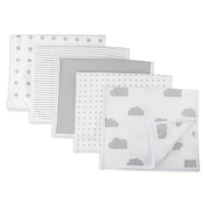 Alternate image 1 for Ely's & Co.® 5-Pack Classic Burp Cloths in Grey
