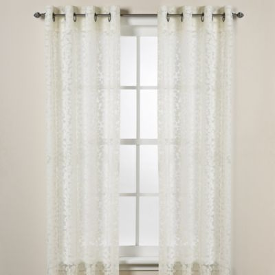 Dkny Halo Grommet Sheer Window Curtain Panels In Ivory