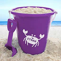 Personalized Sea Creatures Plastic Beach Pail & Shovel in Purple