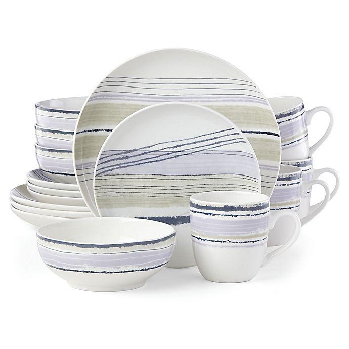 Alternate image 1 for Lenox® Woven Stripes™ Lavender 16-Piece Dinnerware Set