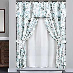 Lush Décor 16-Piece Weeping Flora Shower Curtain Set in Blue