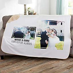 Wedding Photo Personalized 50-Inch x 60-Inch Sherpa Blanket