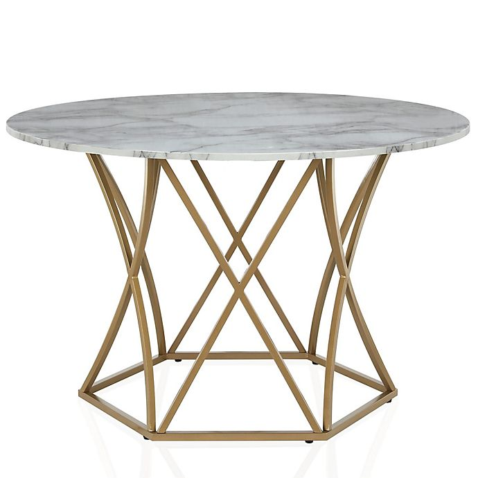 Cosmoliving Elle Round Dining Table In White Gold Bed Bath Beyond