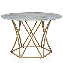 CosmoLiving Elle Round Dining Table in White/Gold