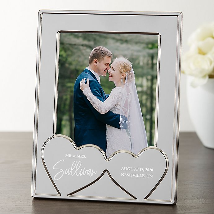 Alternate image 1 for Wedding Hearts Personalized Silver Picture Frame